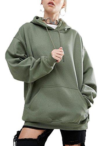 Sweat Longues Casual Tops Blouse Automne Hauts Verte Arme Pulls Shirts Unie Capuche Hiver Lache Femmes Couleur Chemisiers Sweats Manches Pullover 5wPwYBqxI