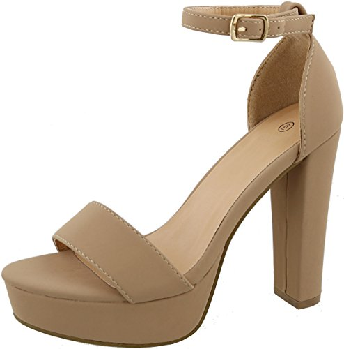 Cambridge Select Women's Open Toe Single Band Buckled Ankle Strap Chunky Platform High Heel Sandal,8 B(M) US,Tan NBPU