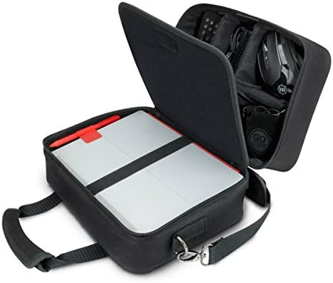 USA Gear Electronics Travel Organizer Tech Bag Case Custom Accessory Storage Compartments, Adjustable Shoulder Strap & Padded Interior – Works w/Tablets, Travel Projectors & More