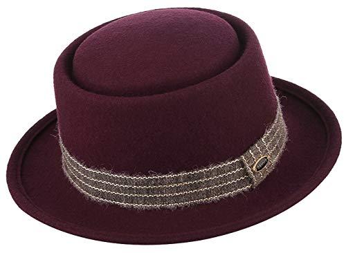 (GEMVIE Men Vintage Wool Felt Derby Hat Stain-Resistaint Manhattan Ganster Fedora Hat)