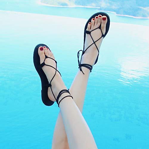 Shukun Sandalen für Damen Sandalen weibliche weibliche weibliche Sommer Fee Wind am Meer Urlaub römische Schuhe Riemen flach unten böhmischen Prise Strandschuhe  2290dc