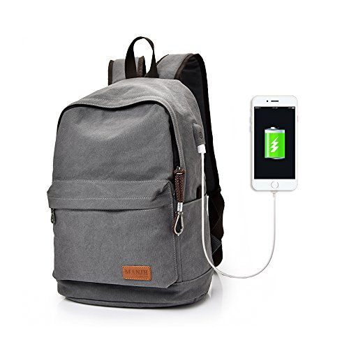 Dreamsoule Retro Style Men's Canvas Laptop Backpack School / Travel Bag Fits up to 15.6 inch Laptop with USB Charging Function - Grey