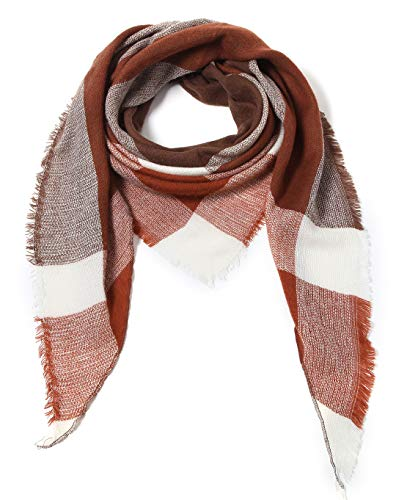 Cindy & Wendy Lightweight Triangle Floral Fashion Lace Fringe Scarf Wrap for Women (Coffee/Rust/White Plaid)