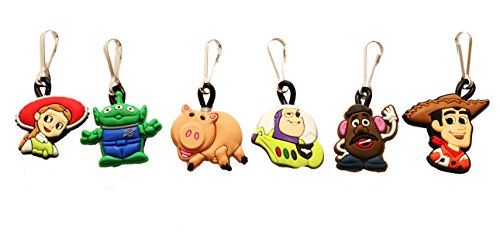 AVIRGO 6 pcs Zipper Pull # 1 / Zip pull Charms for Jacket Backpack Bag Pendant Set # 108-2 (Slinky Dog Toy Story Costume)