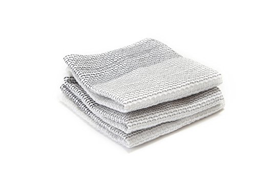 Full Circle Tidy 100% Organic Cotton Dish Cloths, Set of 3, Grayscale Bamboo Dish Cloth