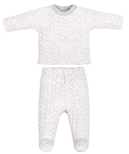 Baby Boys Girls Warm Long-Sleeve Footed Pajamas Tee and Pant 2-Piece PJ Set Sleep and Play Winter (Gray Stripe Set, 12-18M) (Snap Pajama Pant)