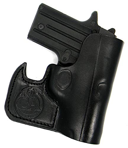 HOLSTERMART USA Ambidextrous Premium Black Leather Front Pocket Concealment Holster for SIG SAUER P238, COLT Mustang 380 (and POCKETLITE)