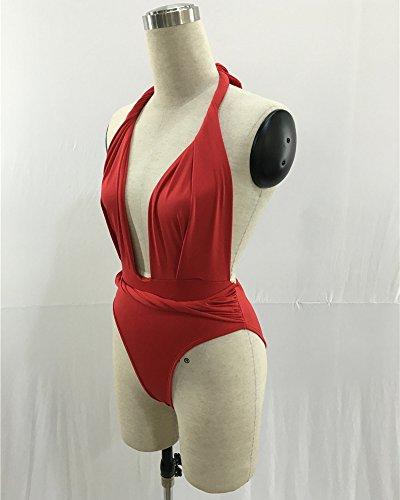 Bañadores Deportivas Mujer Vendaje Del Traje De Baño De Una Pieza Del Bikini Rojo
