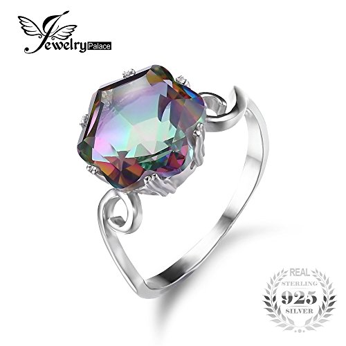 Genuine Rainbow Fire Mystic Topaz Ring Solid 925 Sterling Silver Jewelry Best Gift For Women Fine Jewelry