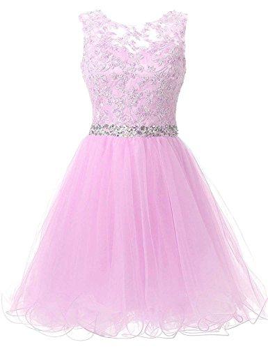 Tüll Kleider Romantik Kurz Brautjungfernkleider Damen Perlen Spitzenkleider Cocktailkleider Abendkleider Mit Rosa Carnivalprom wSEfOq