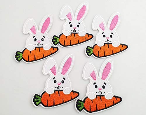 (7x7.5cm 10pcs Happy Easter Bunny Rabbit Carrot Iron On Embroidered Patches Appliques Machine Embroidery Needlecraft Sewing Project Craft)