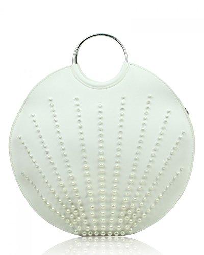 LeahWard Women's Quality 2 IN 1 Handbag Top Handle Bags 846 White/Cream Pearl