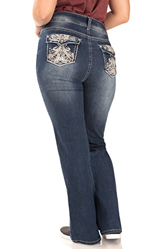 5d6b09f9fbe9e WallFlower Juniors Luscious Curvy Bling Bootcut Jeans - Import It All