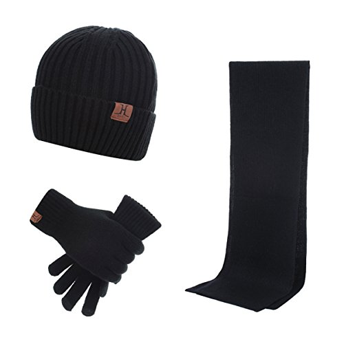 Accessories Gloves Scarves - Lanzom Warm Winter Men 3 PCS Knitted Set Knit Hat + Long Scarf + Touch Screen Gloves Gift Set (Black, One Size)