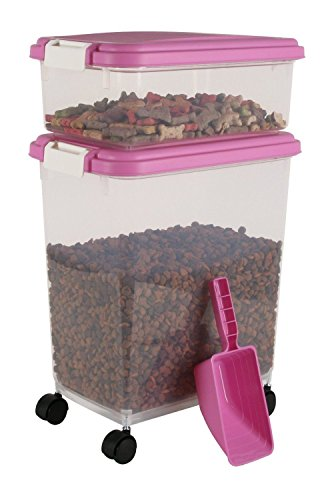 IRIS Airtight Pet Food Container Combo Kit, Pink/White (Airtight Crock)