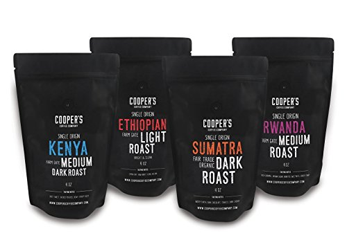 Gourmet Coffee Sampler Gift Box Set | Ground Coffee 4 bags | 1lb Total | Single Origin Organic Sumatra Dark, Kenya AA Medium-Dark, Rwanda Medium, Ethiopian Medium-Light,1lb Total