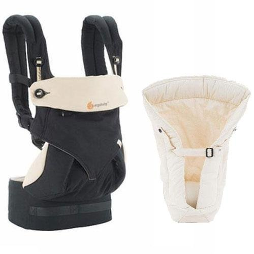Ergobaby Bundle - 2 Items: Black/Camel 4 Position 360 Carrier with Natural Infant Insert