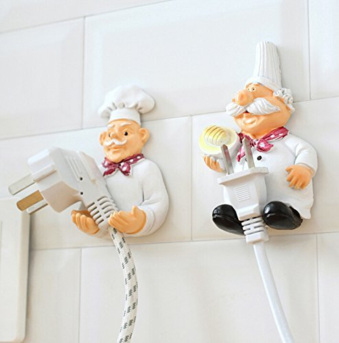 Chefs Home Decor - H.YOUNG Pack of 2 Mobile Power Plug Hook Cook Fat Chef Wall Decor Organiser for Home, Kitchen, Garden, Garage Organizing