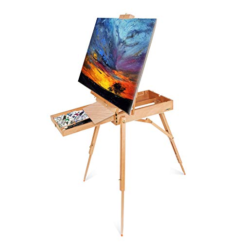 (ShowMaven French Style Wooden Art Easel Stand with Sketch Box,Portable Travel Drawing Artist Tripod w/Storage Drawer Case,Triangular Floor Stand,Collapsible Folding Outdoor,Oil Painting Painters)