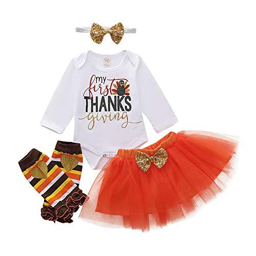 Thanksgiving Outfit Turkey Letter Print Romper+Tutu Skirt+Love Leg Warmers+Headband Clothes Set (White+ Orange, 6-12months)