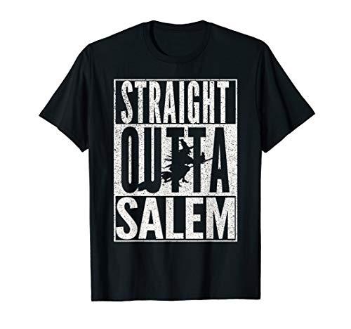 STRAIGHT OUTTA SALEM Halloween Witch Black Cat T-Shirt -