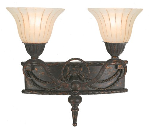 (Yosemite Home Decor F051B02EB Isabella Two Light Bath Vanity with Spanish Scalloped Glass Shades in Earthen Bronze Finish, 16.5
