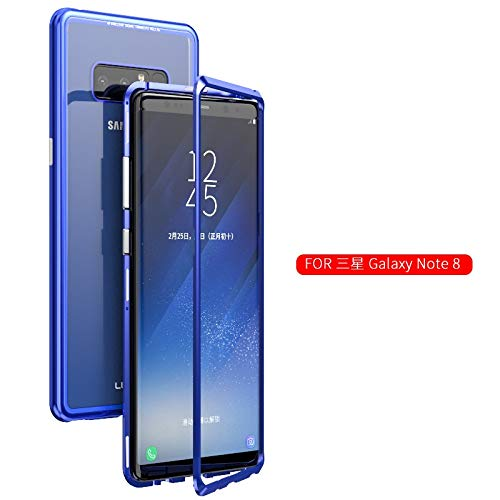 detailed look 2fbbf 0ccf9 Magnetic Absorption Galaxy Note 8 Case Metal Frame + Transparent Glass Back  Cover Hybrid Case Support Wireless Charging Samsung Note 8 (Blue)