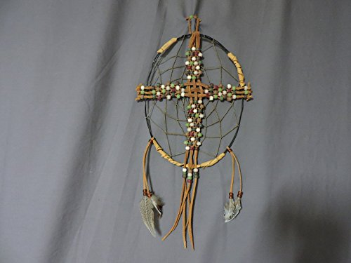 CrossCatcher (CC03) – A beaded leather lacework Cross encircled in a twisted willow branch, dream catcher