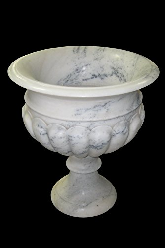 Cream White with Black Marble Hand Carved Flower Planter Outdoor Polished Garden Lawn Patio FP-09 by Stone Spectrum