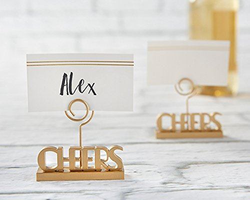 96 Cheers to You Gold Place Card Holders by Kate Aspen