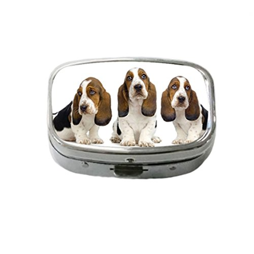 French Bulldog Basset Hound Custom Unique Stainless Steel Pill Box Medicine Tablet Holder Decorative Metal Organizer