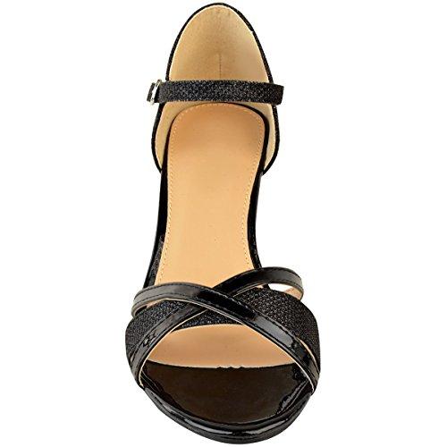Tacco Womens Heelberry Con Sandali Thirsty Matrimonio Fashion Da Cerimonia Punta Basso Sposa Aperta Argento Scarpe Ladies Cinturino Vernice Nero RqHIWw