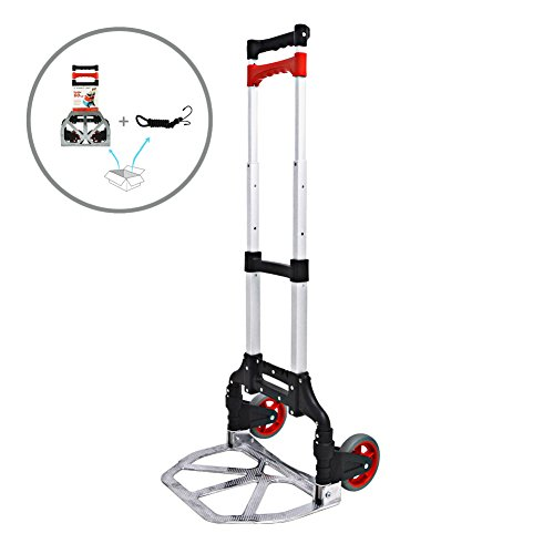 Foldable Aluminum Hand Truck Heavy Duty Folding Lightweight Dolly Cart with Bungee Cord (Dolly Red Big)