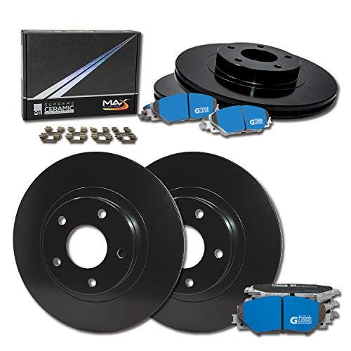 Max Brakes Front & Rear Supreme Brake Kit [ E-Coated OE Rotors + Ceramic Pads ] KM023203 | Fits: 1999 99 2000 00 2001 01 2002 02 2003 03 VW Passat FWD Models