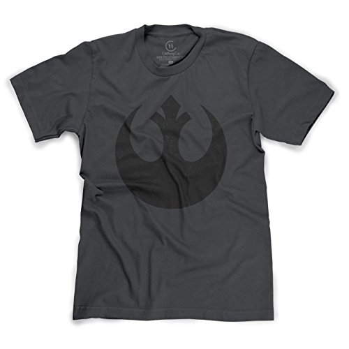 Distressed Logo Mens T-shirt - Old Rebel Logo Original Star Wars Distressed T-Shirt - (HTHR Charcoal) Medium