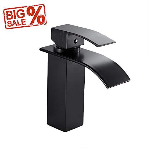 Sinks Discount Vanities Bathroom - OWOFAN Brass Waterfall Bathroom Vanity Sink Faucet With Large Square Spout, Oil Rubbed Bronze WF-503R-B