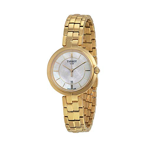 Tissot Flamingo Quartz White Mother of Pearl Dial Yellow Gold Plated Ladies Watch T0942103311100