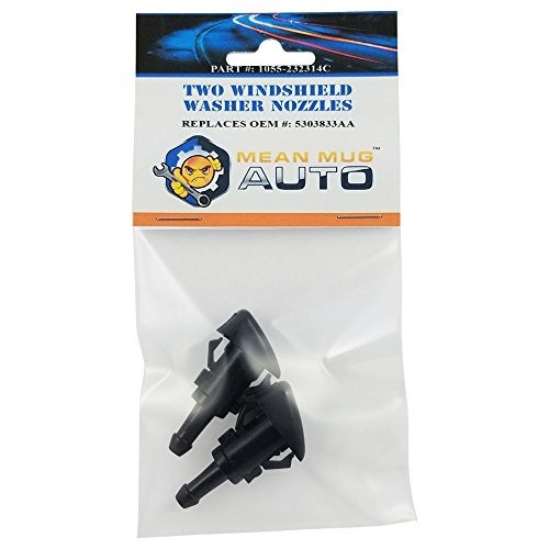 Genuine Part Washer (Mean Mug Auto 1055-232314C (Two) Front Windshield Washer Nozzles - For: Chrysler, Dodge, Jeep, Ram - Replaces OEM #: 5303833AA)