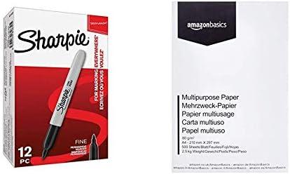Sharpie S0810930 - Rotuladores permanentes, punta fina, caja de 12, color negro & AmazonBasics Papel multiusos para impresora A4 80gsm, 1 paquete, 500 hojas, blanco: Amazon.es: Oficina y papelería