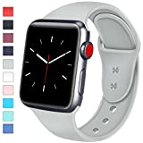 Sport Band for Apple Watch 42mm 38mm Women Men, Silicone Replacement Bands for iWatch Apple Watch Series 3, Series 2, Series 1, Gray, 42mm S/M