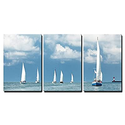 3 Piece Canvas Wall Art - Sailboats Sailing, Blue Cloudy Sky and White Sails - Modern Home Art Stretched and Framed Ready to Hang - 16