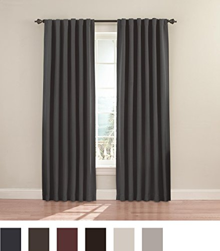 Eclipse 11353052095chr Fresno 52 Inch By 95 Inch Blackout Single Window Curtain Panel Charcoal
