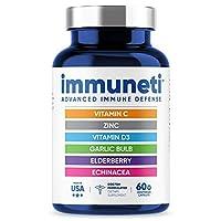 Immuneti – Advanced Immune Defense, 6-in-1 Powerful Blend of Vitamin C, Vitamin D3, Zinc, Elderberries, Garlic Bulb, Echinacea – Supports Overall Health, Provides Vital Nutrients & Antioxidants