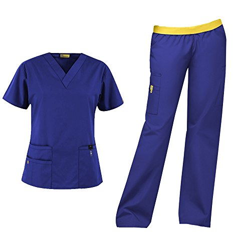 WonderWink Origins Women's Medical Uniforms Scrubs Set Bundle- 6016 Bravo V-Neck Scrub Top & 5016 Quebec Elastic Cargo Scrub Pants & MS Badge Reel (Galaxy Blue - Medium/Medium)
