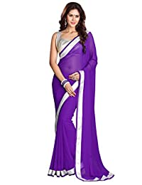 Mirchi Fashion Lace Work Faux Georgette Indian Traditional Wear Saree for Women