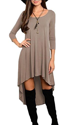 Women's Sleeve Dress 2 High Low Casual Jaycargogo Fitted Long Long Hem Maxi SdxTpWq