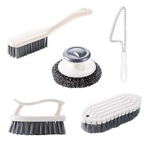 GIPTIME 5 Piece Cleaning Brushes Set, Scrub Brush Bathroom Brush, Kitchen Scrub Brush, Shoe Cleaning Brush, Steel Ball Dishwashing Brush, Window & Sliding Door Track Cleaning Brush