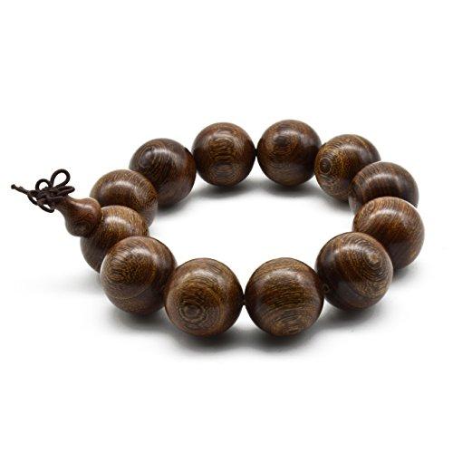 (Zen Dear Unisex Natural Silkwood Tibetan Buddhism Meditation Prayer Bead Necklace Japa Mala Beads Bracelets (20mm x 12)