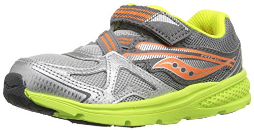Saucony Boys' Baby Ride Sneaker (Toddler/Little Kid), Grey/Orange/Citron, 4.5 M US Toddler
