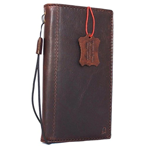 Genuine Real Leather Case for Samsung Galaxy Note 8 Book Wallet Cover Handmade Retro Luxury Cards Slots Dark Brown Daviscase
